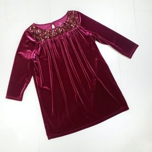 Lands End Sz L 14 Girls Red Velvet Holiday Dress